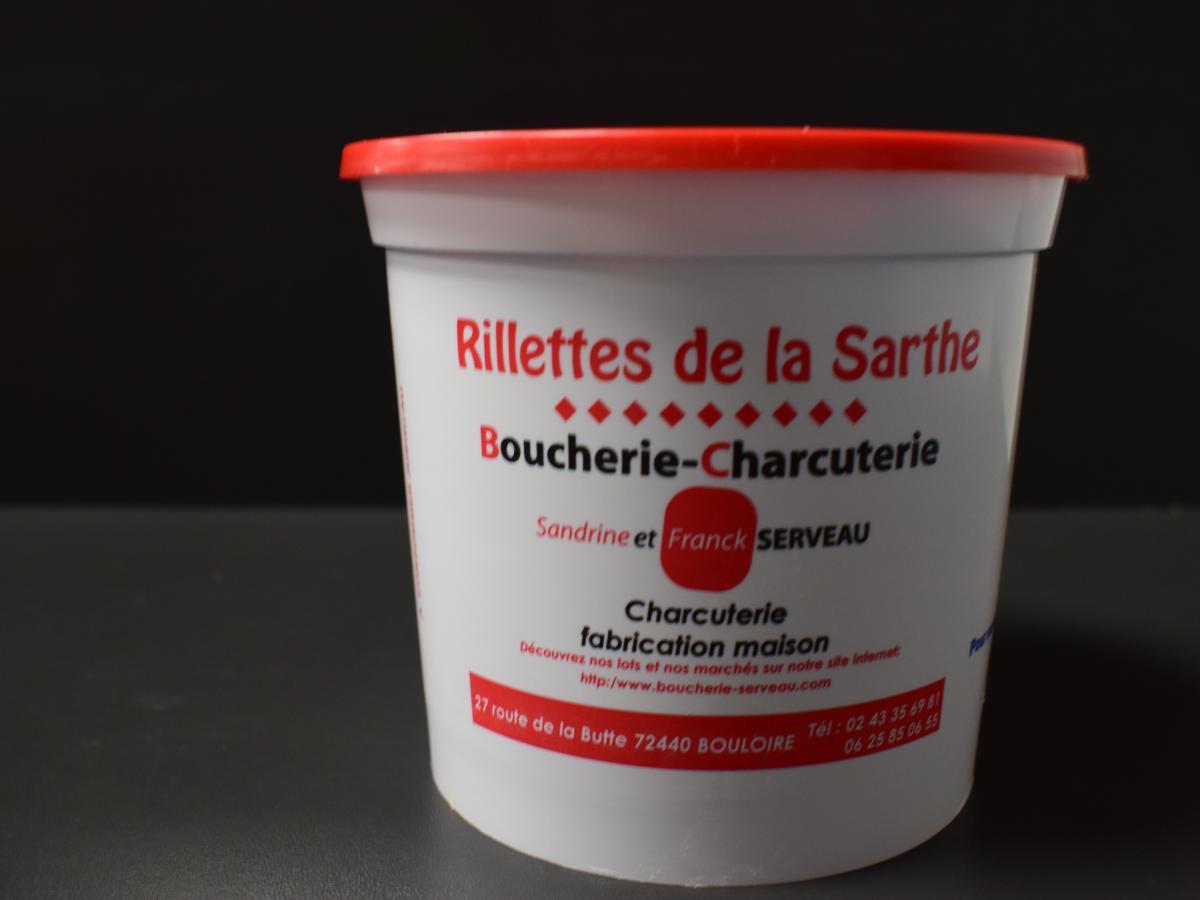 Pot de rillettes 470g. Porc fermier label rouge Cénomans au sel de Guérande