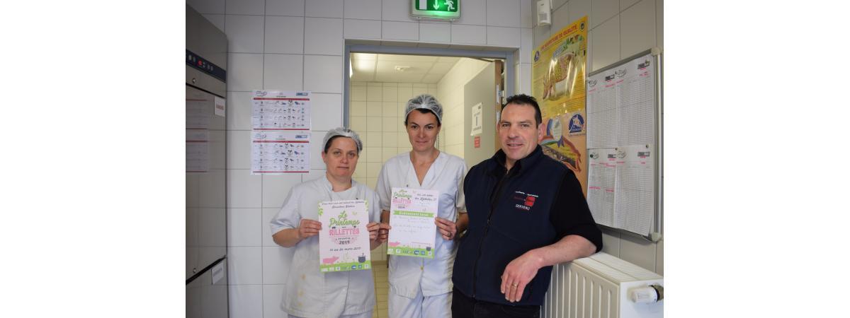 Printemps des rillettes 2019. La boucherie Sandrine et Franck Serveau offre des rillettes aux enfants pour une dégustation.